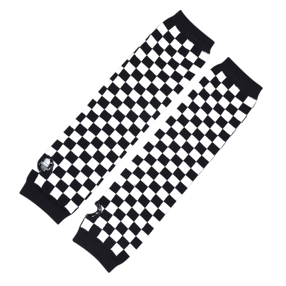 Pair Black White Plaids Print Acrylic Fingerless Arm Warmers Gloves for Women