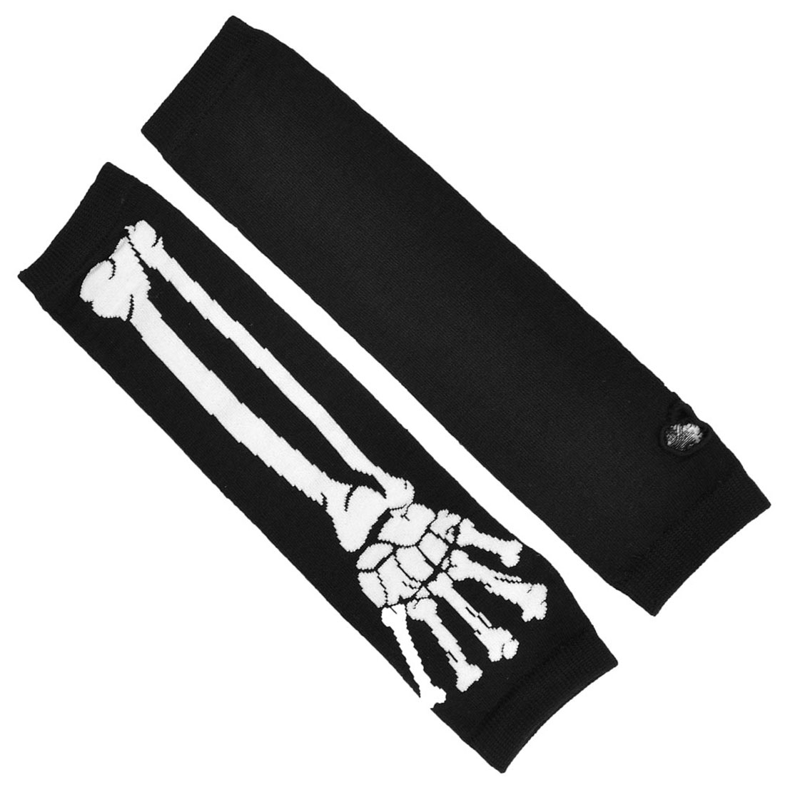 Lady Fingerless Knitted Black White Hand Bone Pattern Arm Gloves Warmers Pair