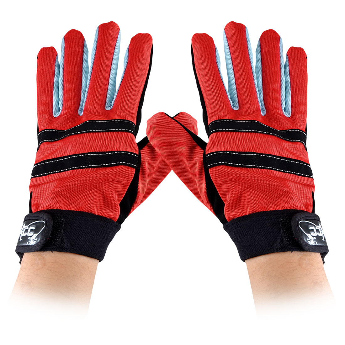 Pair Full Finger Design Nonslip Hook Loop Red Black Palm Fishing Gloves