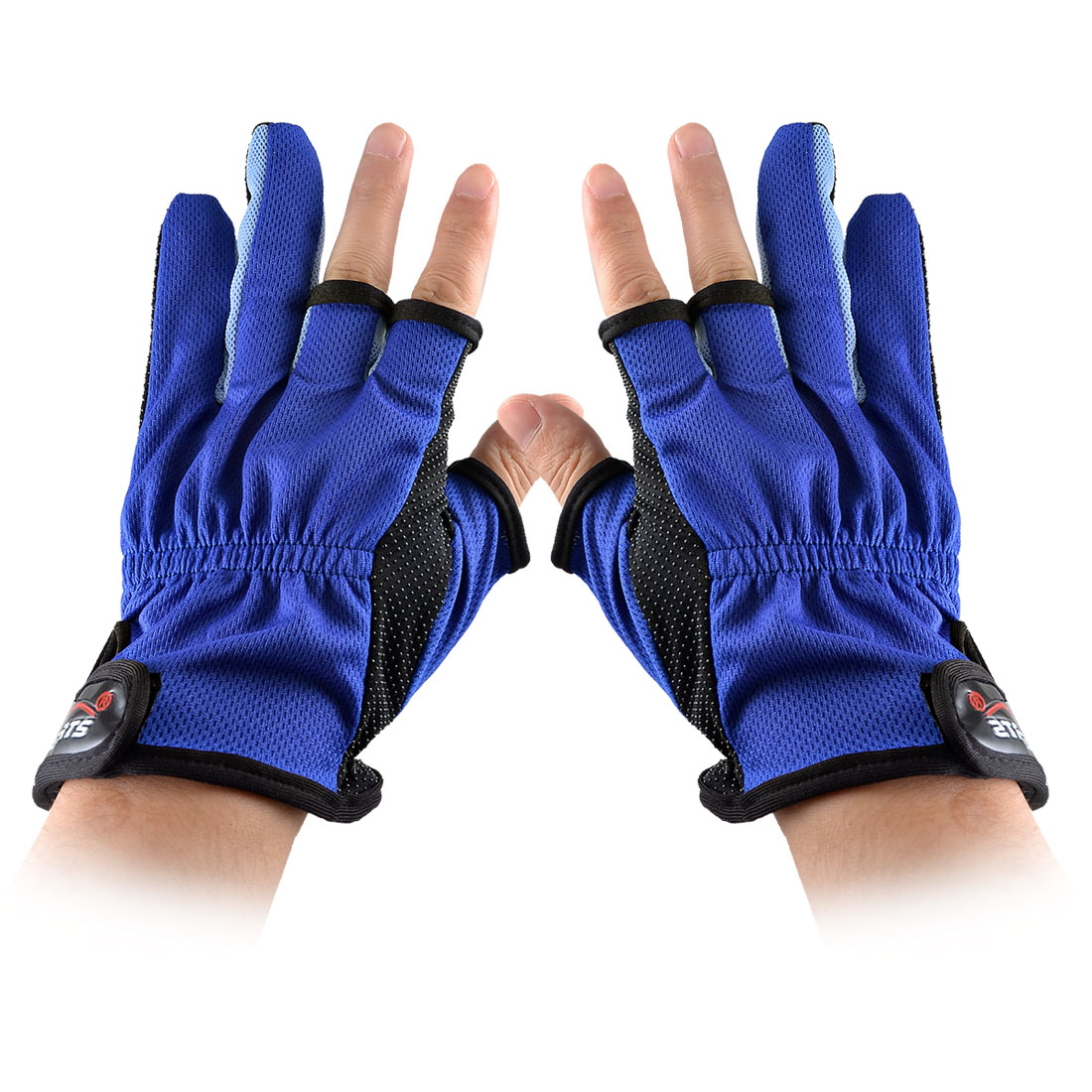 Pair Blue Black Antislip Dots Palm Hook Loop Closure Elastic Fishing Gloves