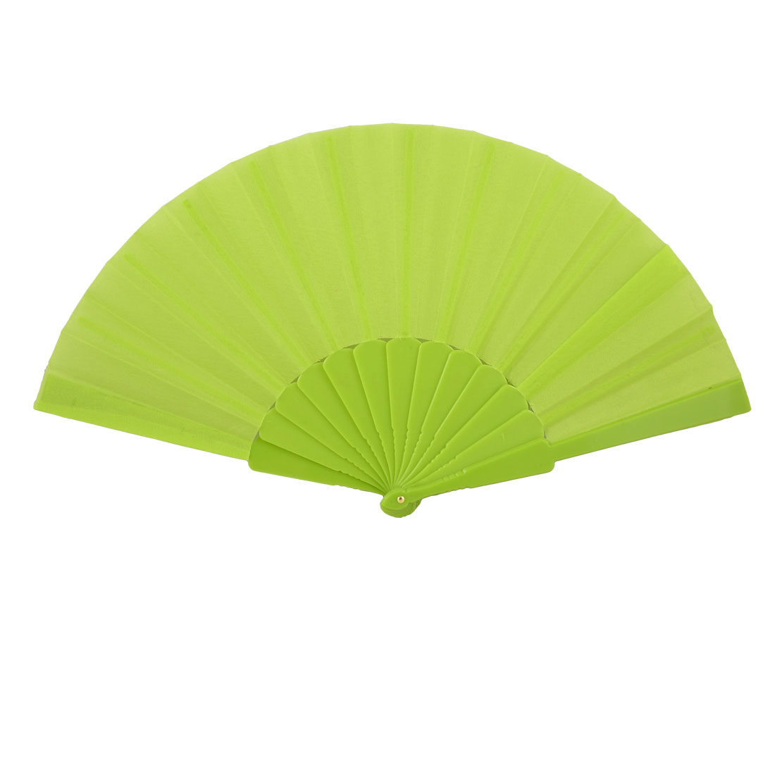 "Men Women Plastic Frame 16.5"" Width Fabric Folding Hand Fan Gift Light Green"