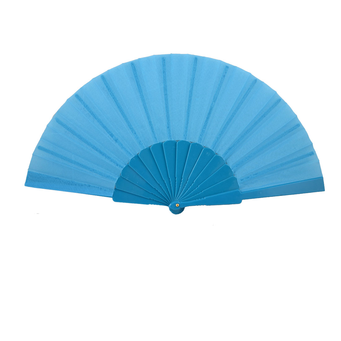 "Unisex Plastic Frame 16.5"" Width Fabric Folding Hand Fan Gift Blue"