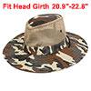 Men Wide Full Brim Brown Black Camouflage Mesh Design Fishing Hiking Hat Cap