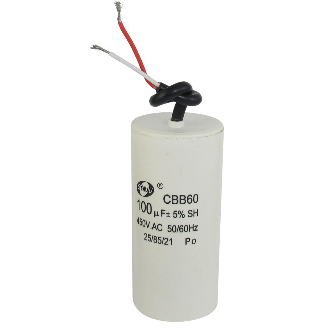 CBB60 AC 450V 100uF Cylindrical Non Polar Motor Capacitor