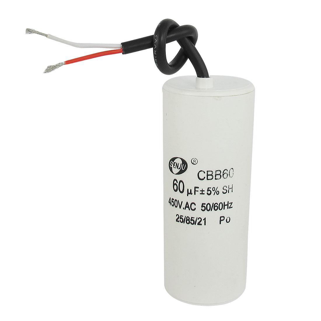 CBB60 450VAC 60uF 5% Wired Terminal Motor Capacitor