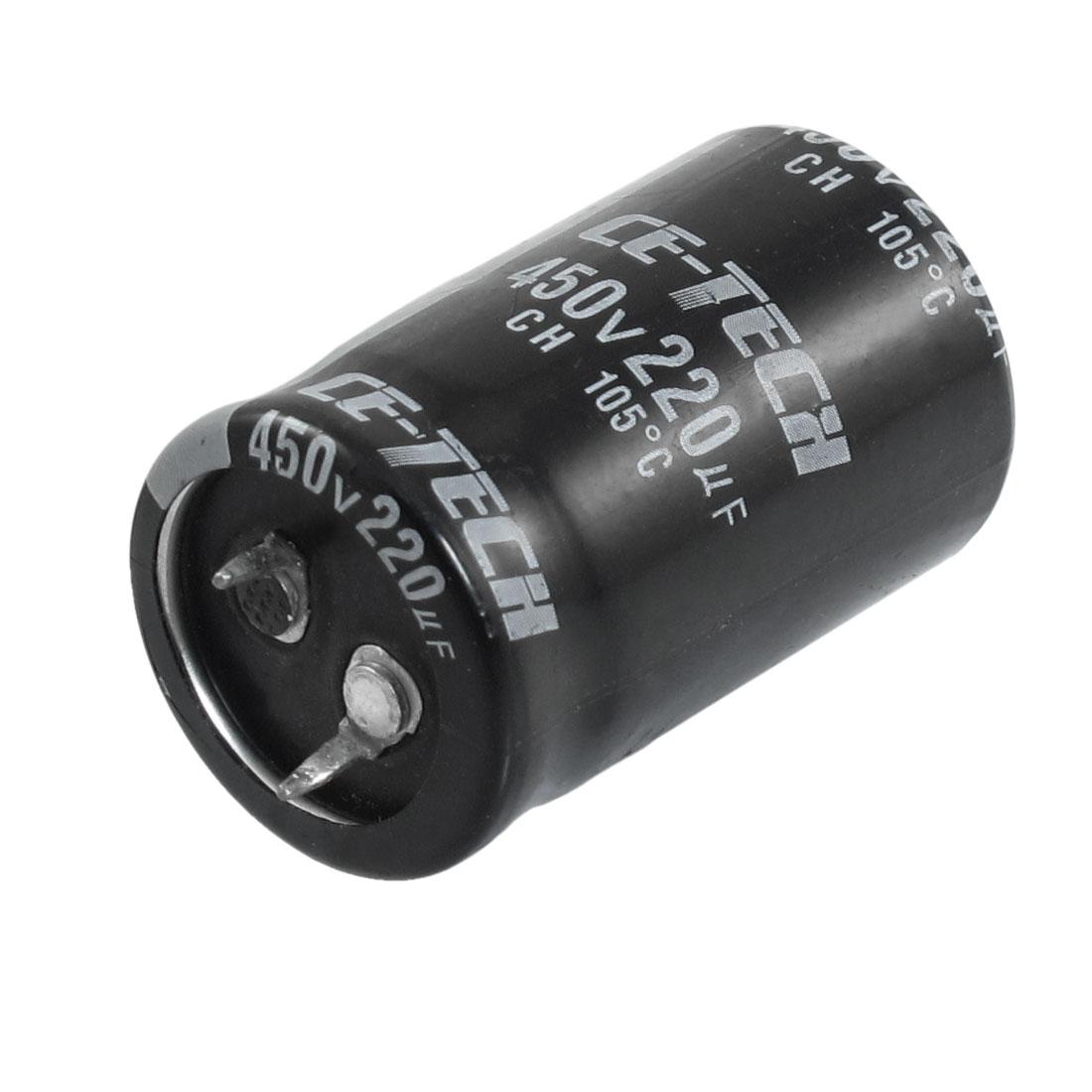 450V 220uF 40mm x 25mm Cylindrical Aluminum Electrolytic Capacitor
