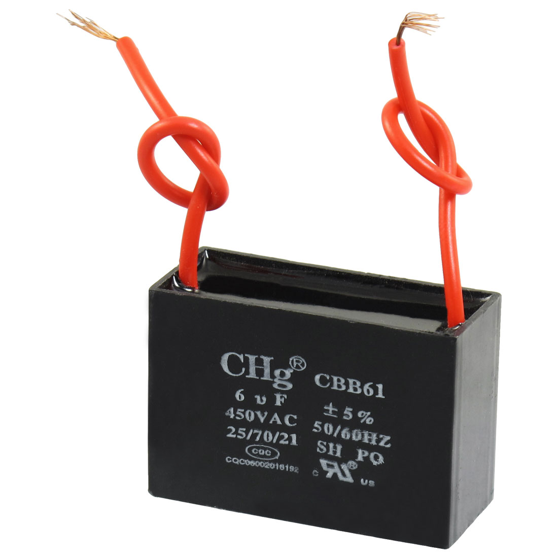 CBB61 6uF AC 450V Rectangle 2-Wire Non Polar Motor Run Capacitor