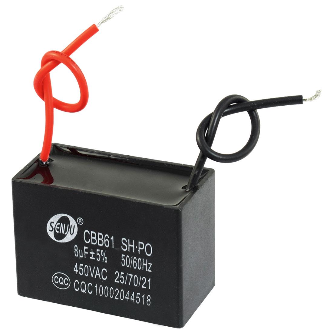 CBB61 8uF AC 450V Rectangle 2-Wire Non Polar Motor Run Capacitor