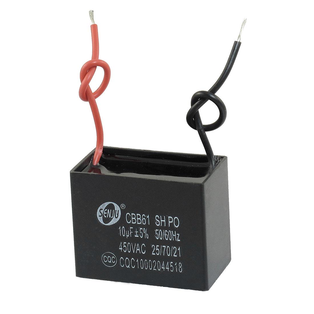 Polypropylene Film AC Motor Run Capacitor 10uF 5% 450V CBB61