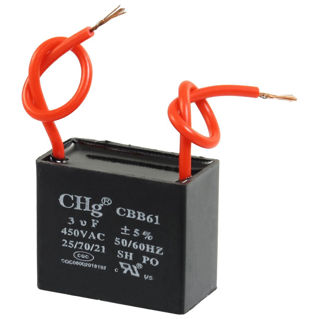 Polypropylene Film AC Motor Run Capacitor 3uF 5% 450V CBB61