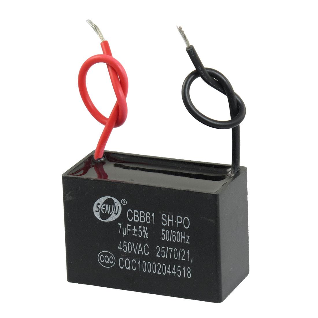 Polypropylene Film AC Motor Run Capacitor 7uF 5% 450V CBB61
