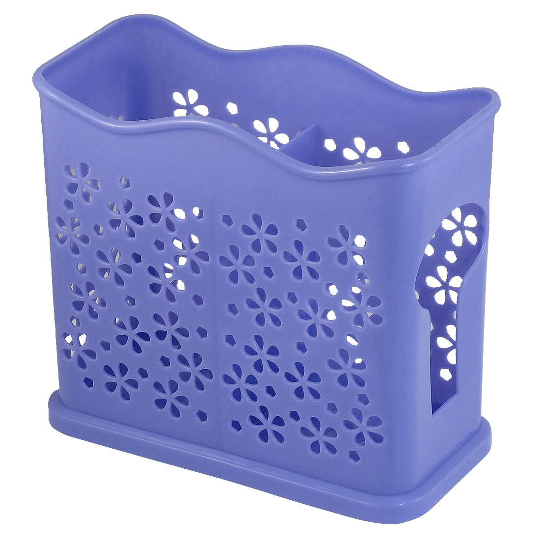 Kitchen Light Blue Plastic Chopsticks Spoon Cage Organizer