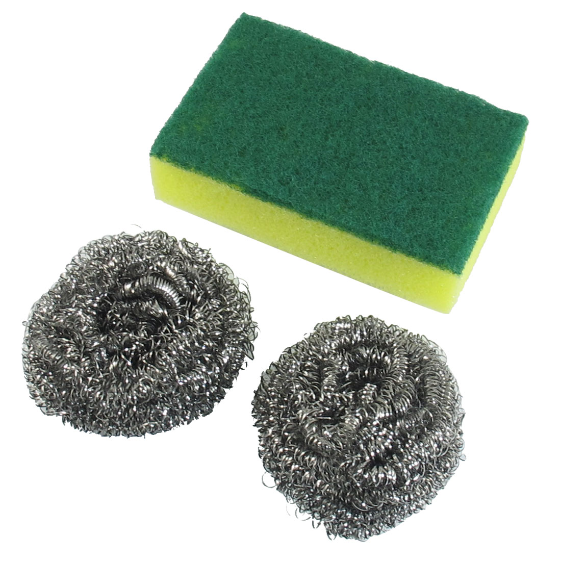 Steel Wire Scourer Cleaning Ball 2 Pcs w Yellow Green Dish Scrub Pad