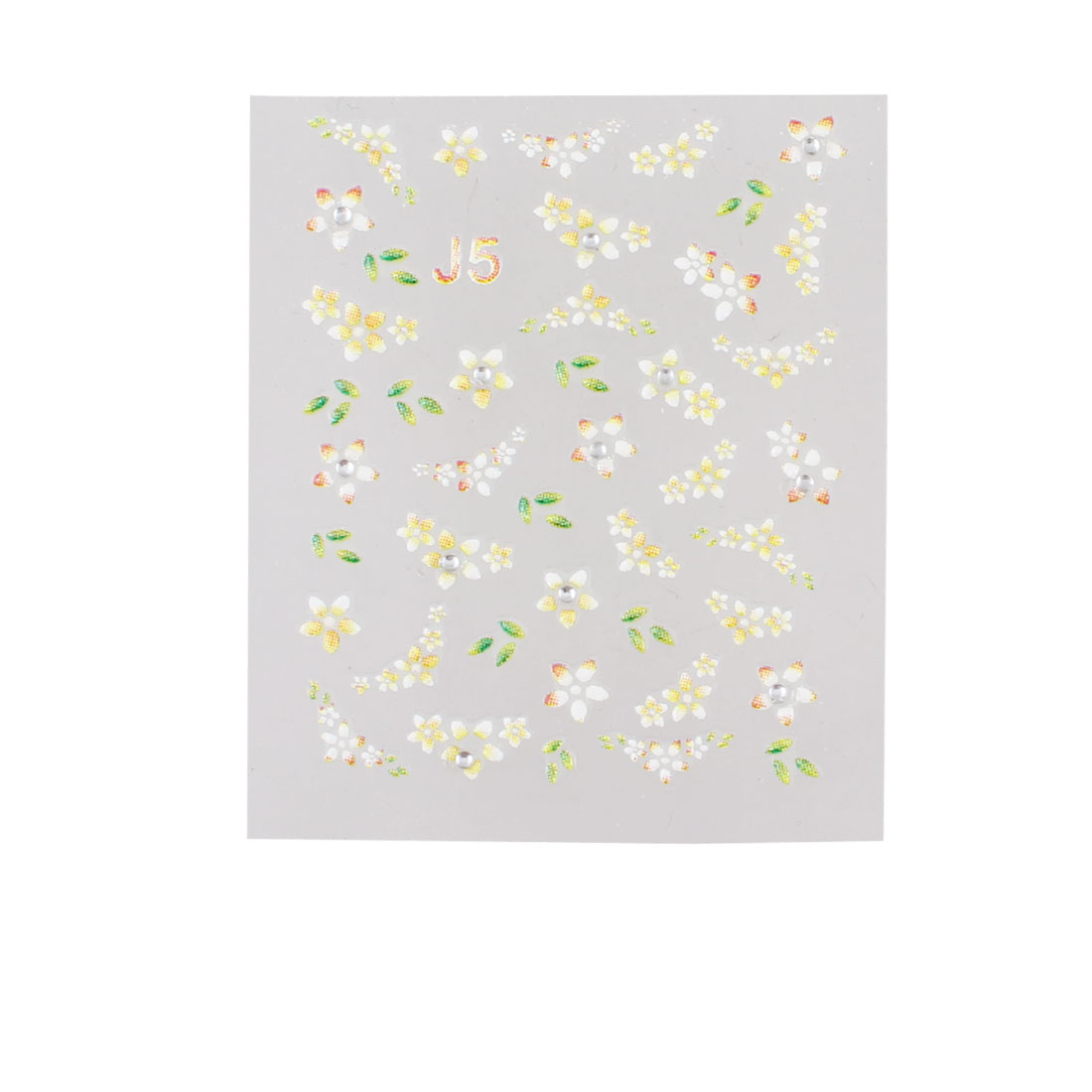Green Yellow Plastic Flowers Pattern 3D Fingernails Nail Stickers