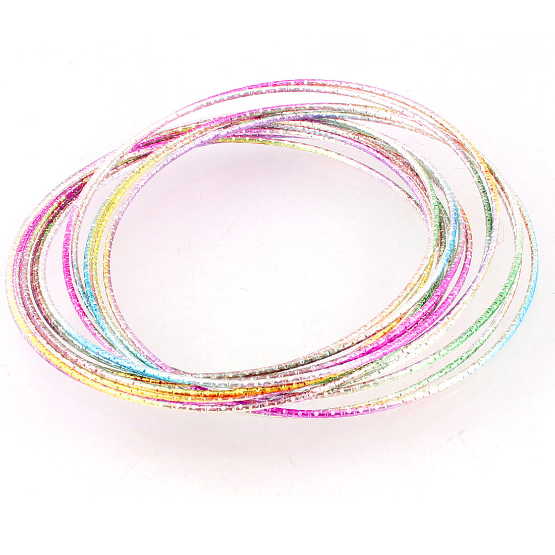 Women Colorful Metal Multi Layer Circle 12 Rings Bracelet