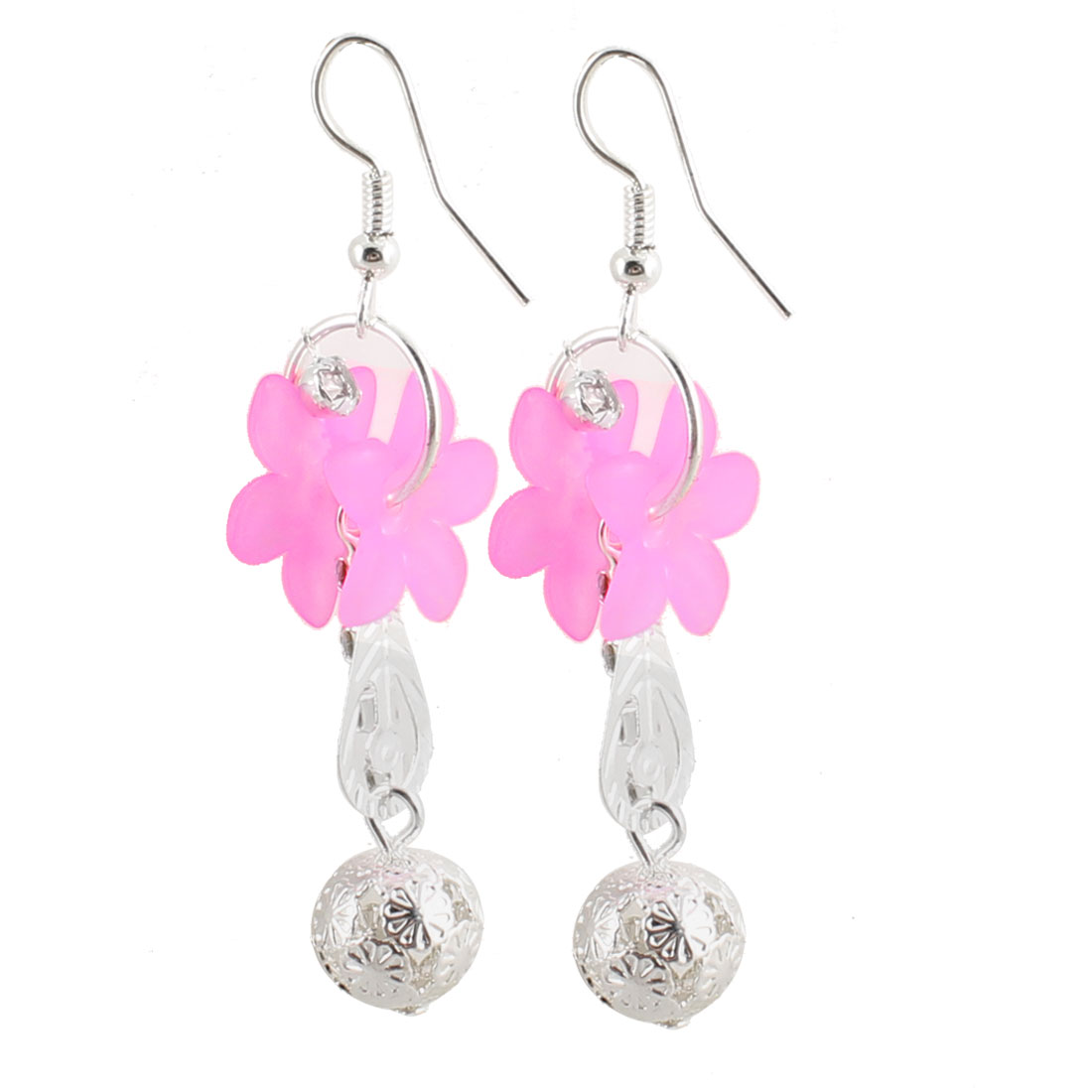 Lady Pair Pink Plastic Flower Metal Ball Pendant Dangle Fish Hook Earrings