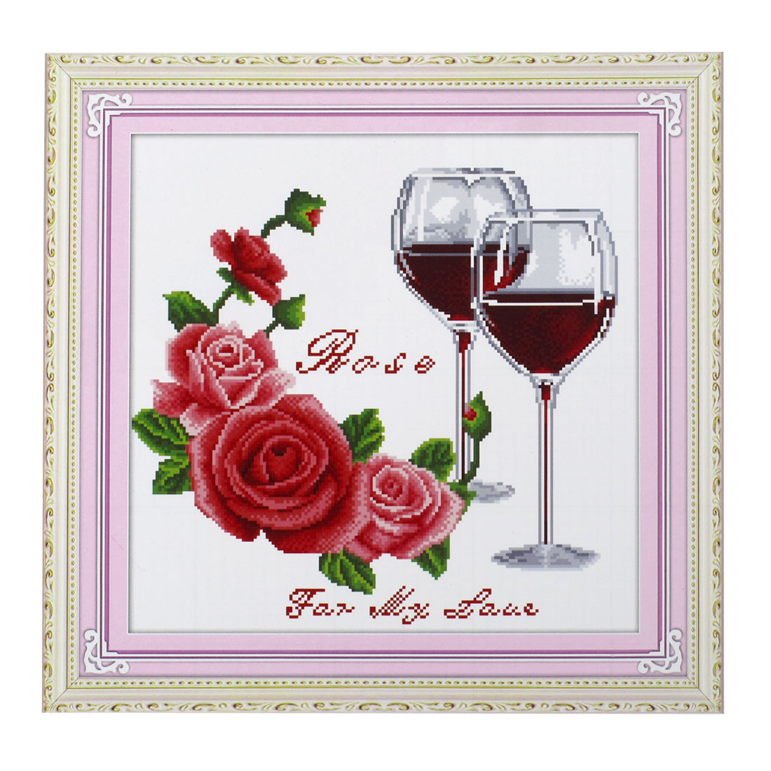 Woman Rose Double Cups Pattern Cross Stitch Counted Gift Handmade Kit