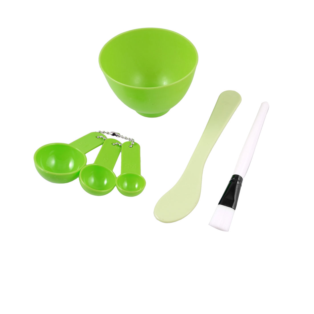 DIY Green Plastic Bowl Brush Spoon Facial Cosmetic Kit 4 in 1 for Ladies Woman