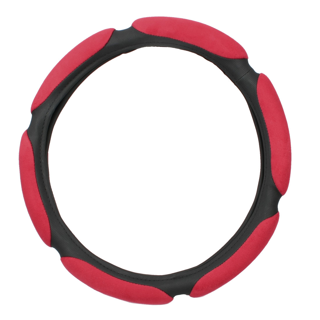 Red Plush Black Faux Leather 3D Steering Wheel Cover Protection for Truck Car