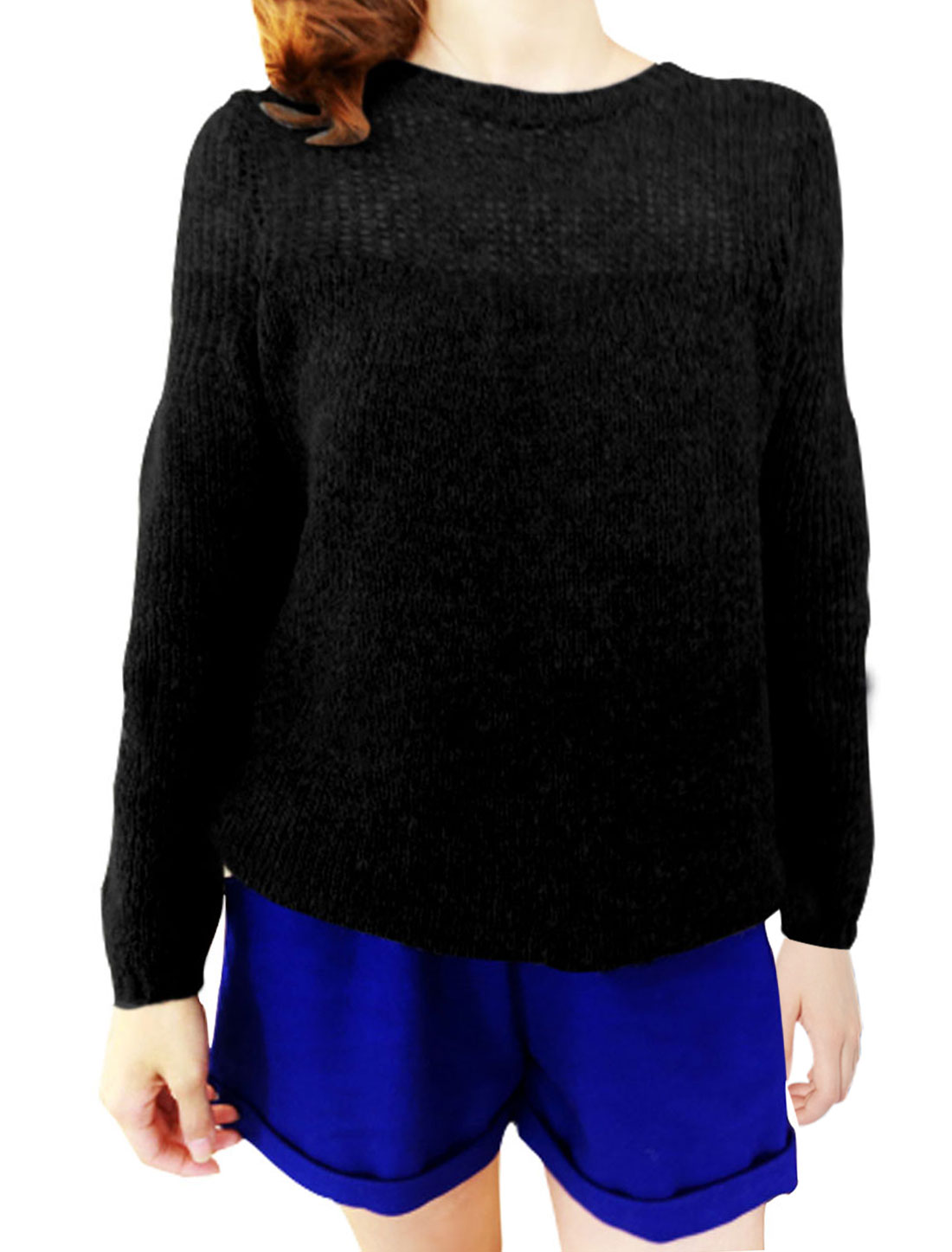 Ladies Text Ribbed Knit Hem Crewneck See Through Shoulder Sweater Solid Black M