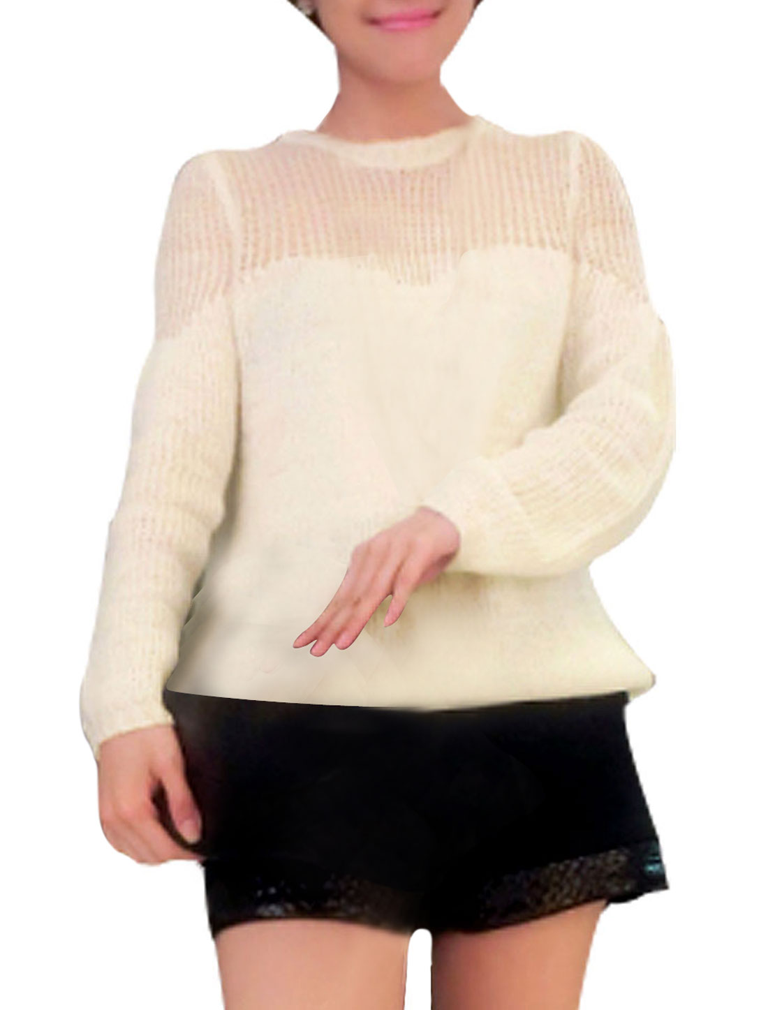 Ladies See-through Shoulders Long Sleeves Ribbed Hem Knit Text Winter Sweater Beige M