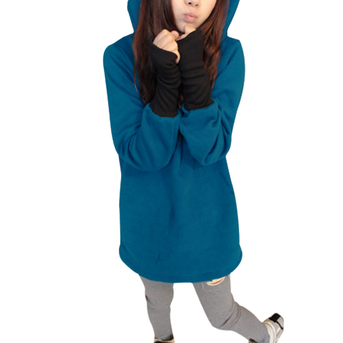 Ladies Sleeve Panel Round Neck Solid Color Skinny Cuff Chic Hoodie Outerwear Blue S
