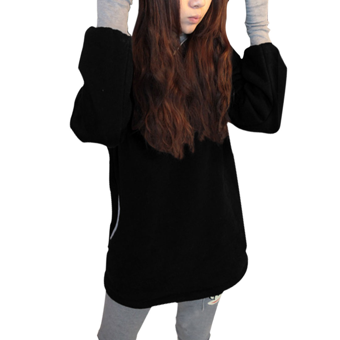 Lady Black Panel Long Sleeve Skinny Cuff Fashion Thick Hoodie Outerwear S