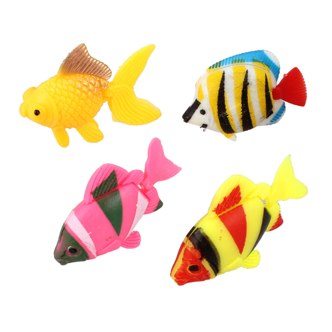 4 Pcs Multicolor Artificial Plastic Movable Tail Fishes for Fish Tank