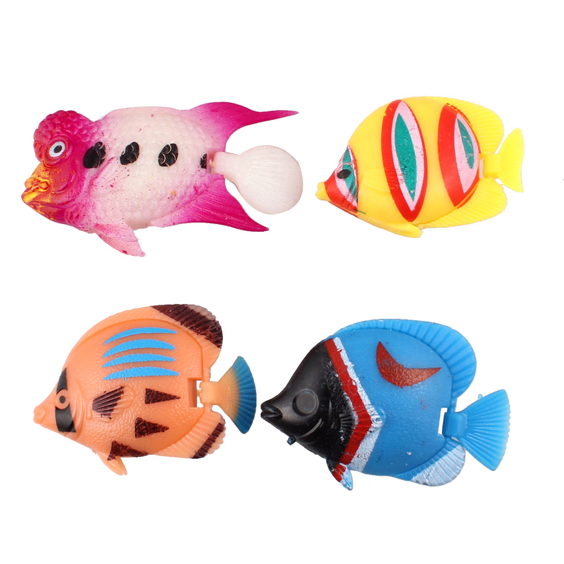 4 in 1 Multicolor Artificial Plastic Movable Tail Fishes for Fish Tank