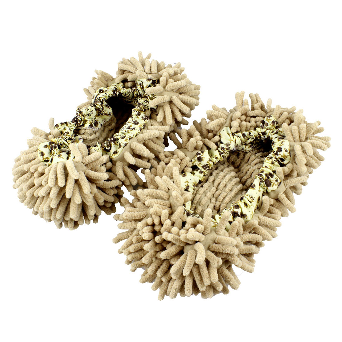 Pair Multifunction Floor House Cleaning Mop Slippers Shoes Cover Khaki