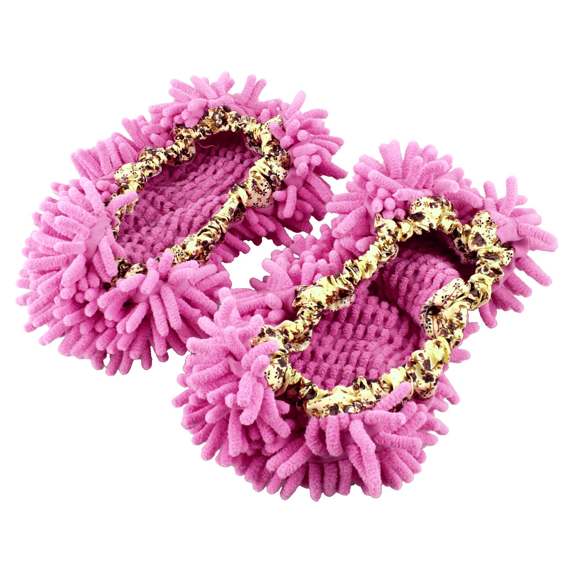 Pair Multifunction Floor House Cleaning Mop Slippers Shoes Cover Pink