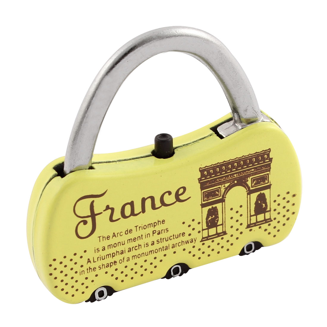 Luggage Box Resettable English Words Pattern Coded Lock Yellow