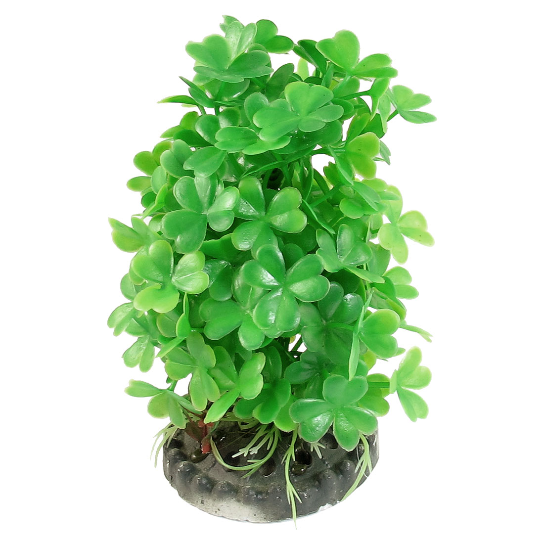 "Fishbowl 5.1"" Height Green Artificial Plastic Plant w Ceramic Base"
