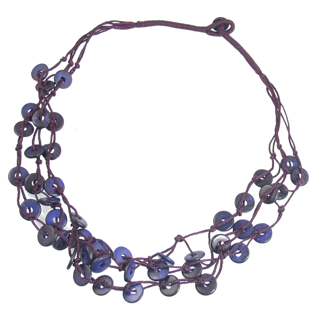 Women Three Layer Braided Coconut Shell Chain Necklace Dark Purple