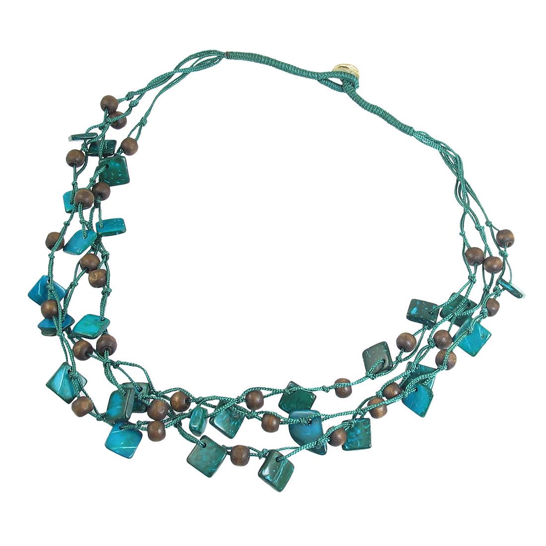 Blue Brown Nylon Cord Braid 3 Layer Pendant Square Coco Beaded Necklace Chain