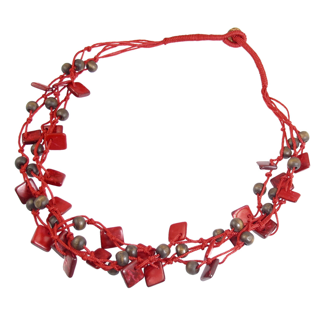 Ladies Women Coconut Shell Multi Charms Layered Long Necklace Red Brown