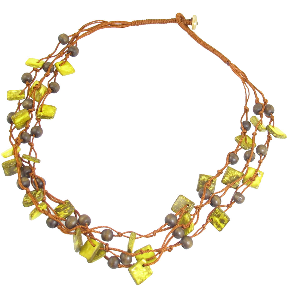 Lady Women Yellow 3 Layer Coco Shell Square Shape Beads Chock Chain Necklace