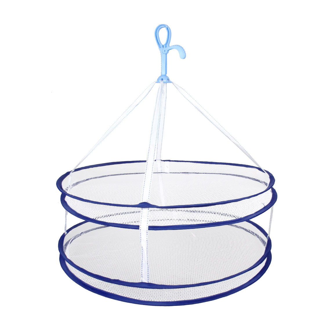 "White Blue Two Layer 24"" Diameter Nylon Netty Hanging Foldable Dryer Basket"