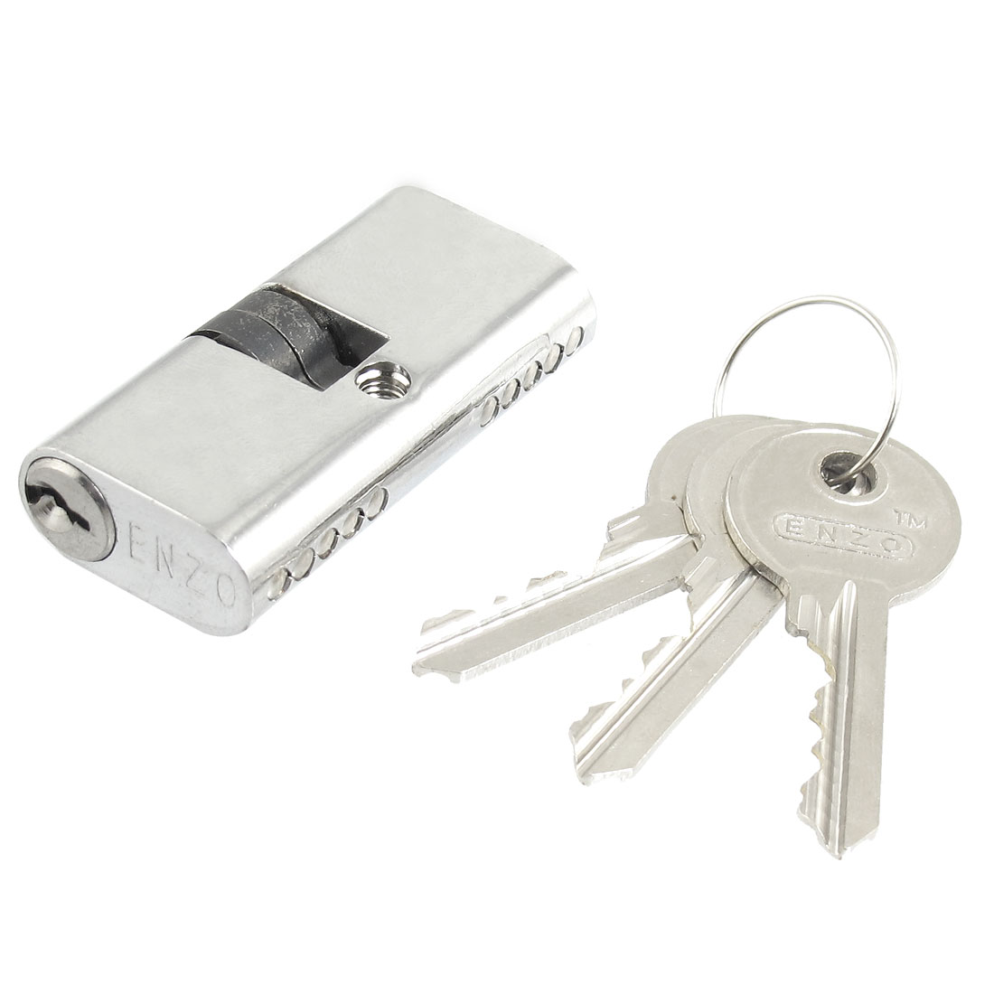Silver Tone Cross Keyway Cupboard Security Cylindrical Lock 4.3mm Dia