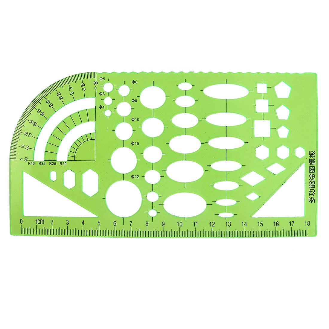 School Green Stationery Measuring Template Ruler Guide for Students