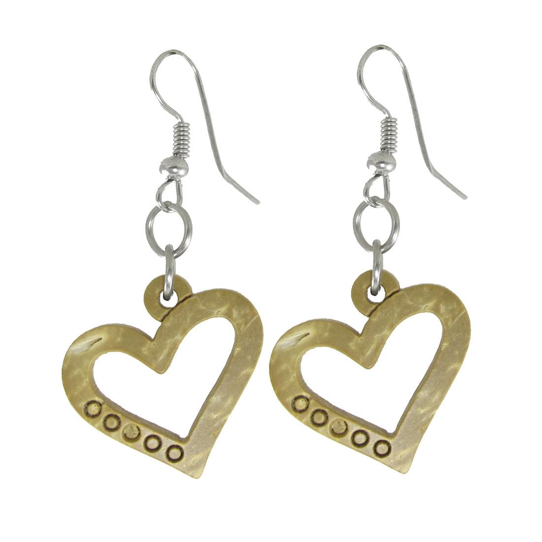 Wooden Heart Shape Eardrop Metal Fish Hook Earrings for Ladies Women