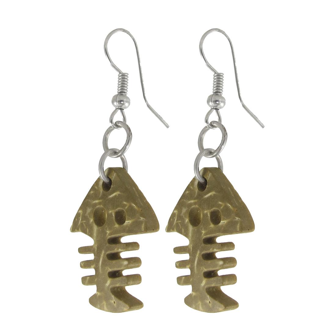 Lady Wooden Fishbone Earbob Fish Hook Earrings Pierced Eardrop Pair