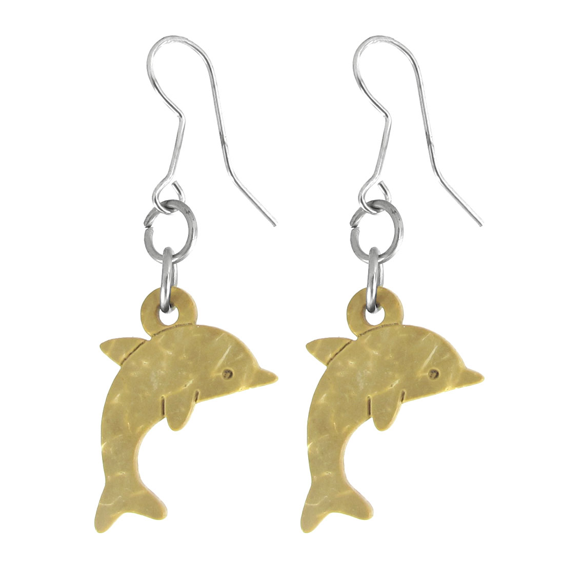 Lady Wooden Dolphin Earbob Fish Hook Earrings Pierced Eardrop Pair