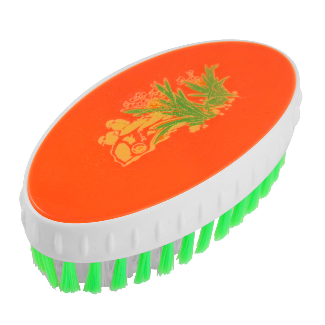 Orange Red Green Plastic Oval Shape Clothes Shoes Cleaning Scrub Brush