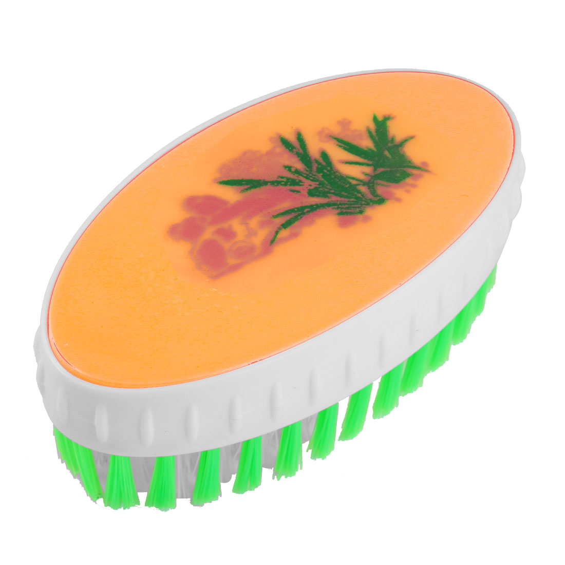 Green Orange White Oval Shape Bristles Scrub Brush for Clothes Floor