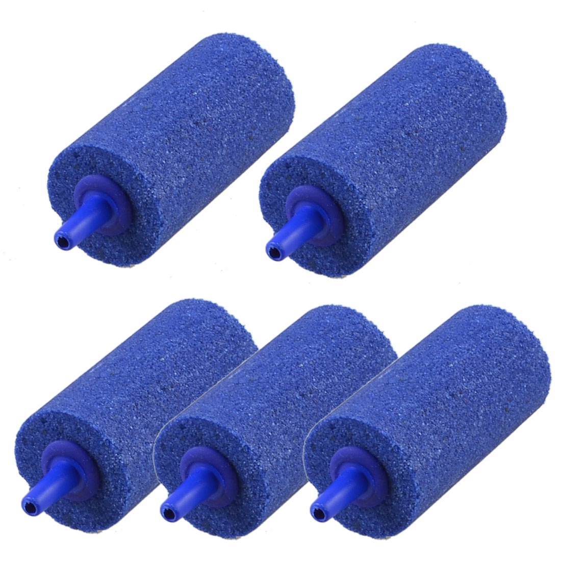 Blue Cylinder 25mmx50mm Mineral Bubble Release Aquarium Air Stone 5 Pcs