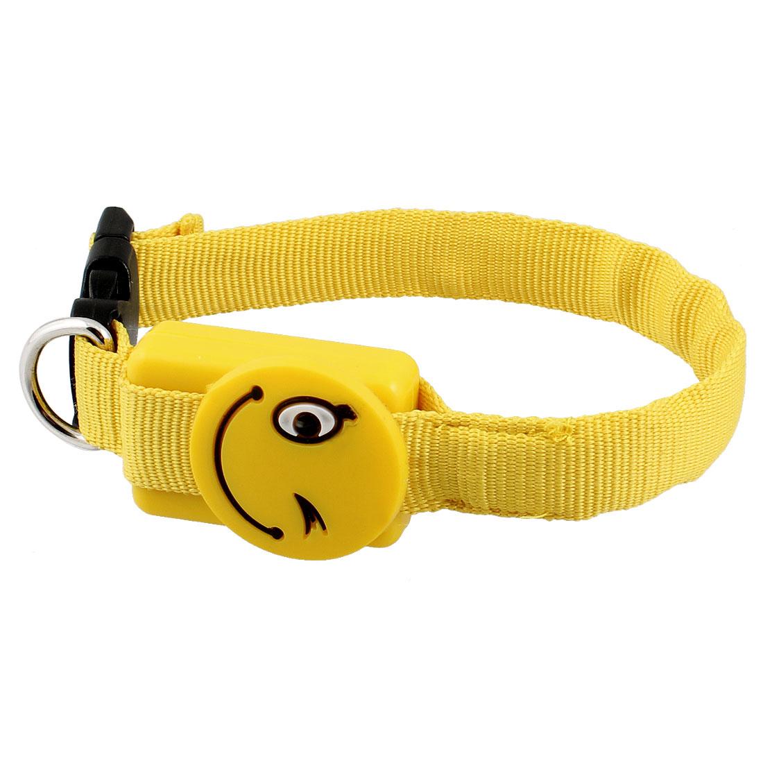 "Smile Pattern Yellow LED Safety Flash Light Up Pet Cat Dog Collar Belt 11"""