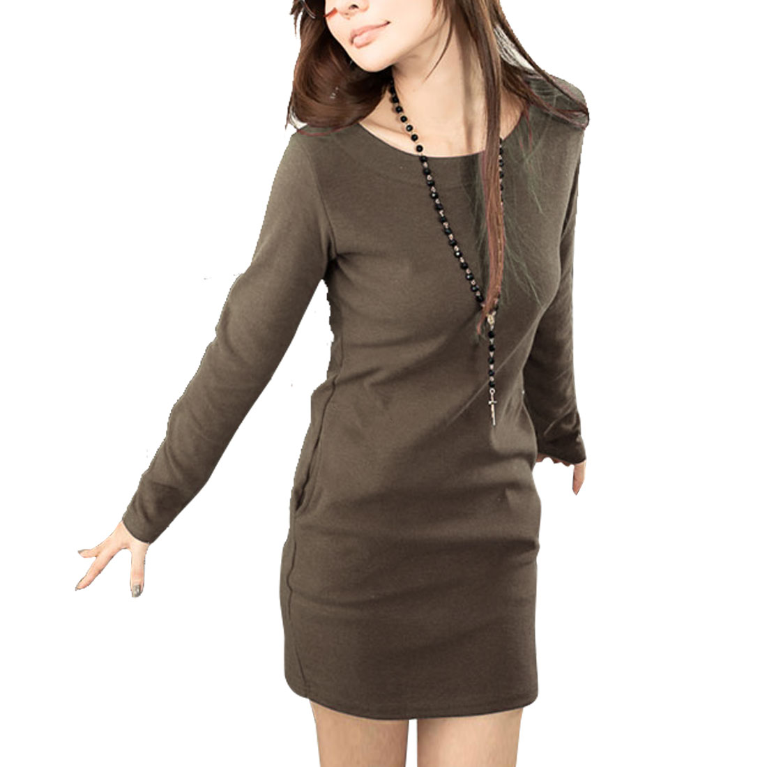 Ladies Long Sleeves Scoop Neck Base Layer Sheath Hip Dress Dark Brown Xs