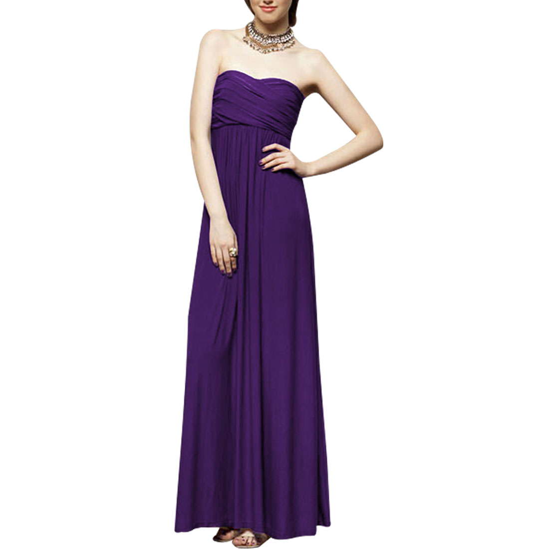 Strapless Cocktail Party Lining Full-length Zip up Dress Purple XS for Ladies