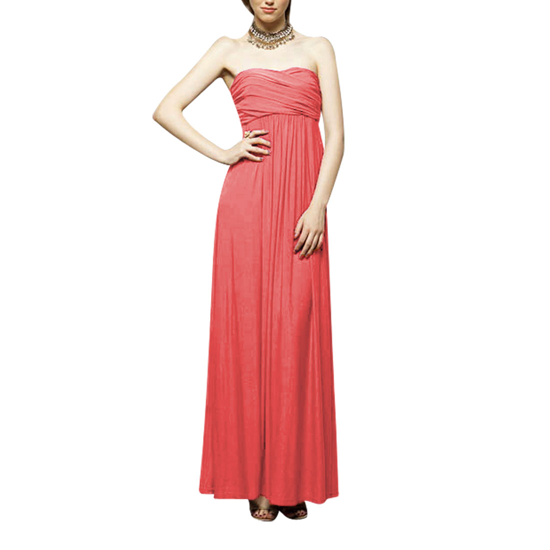 Strapless Cocktail Party Lining Full-length Zip up Dress Watermelon Red XS for Ladies